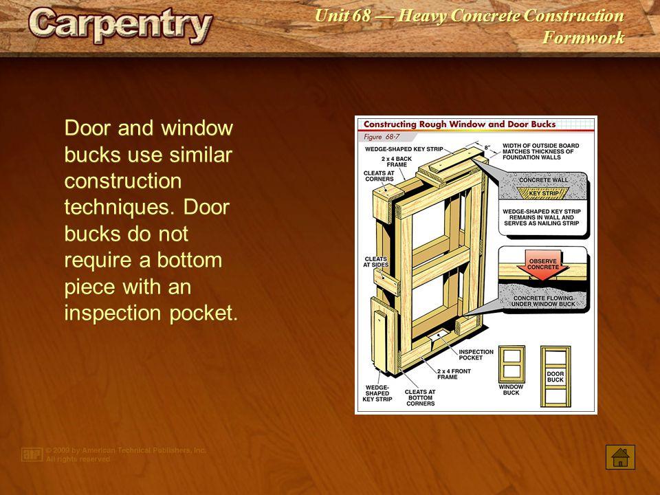 Door and window bucks use similar construction techniques