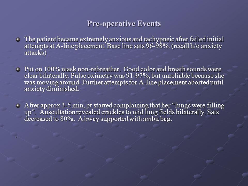 Pre-operative Events
