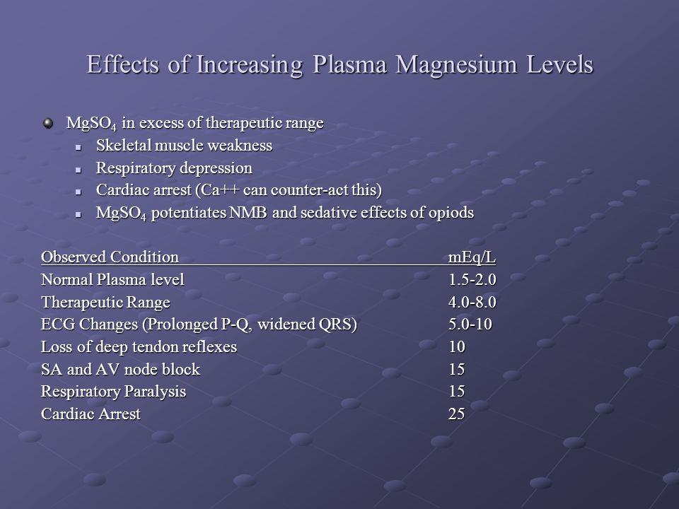 Effects of Increasing Plasma Magnesium Levels