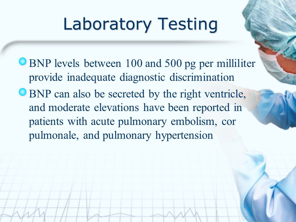 Laboratory Testing BNP levels between 100 and 500 pg per milliliter provide inadequate diagnostic discrimination.