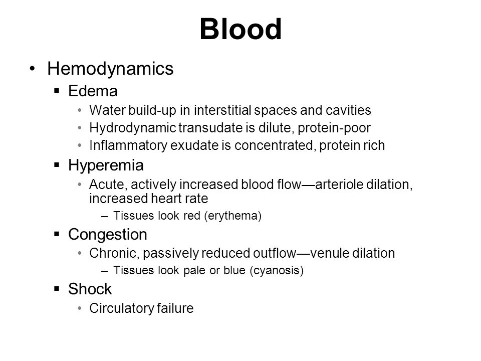 Blood Hemodynamics Edema Hyperemia Congestion Shock