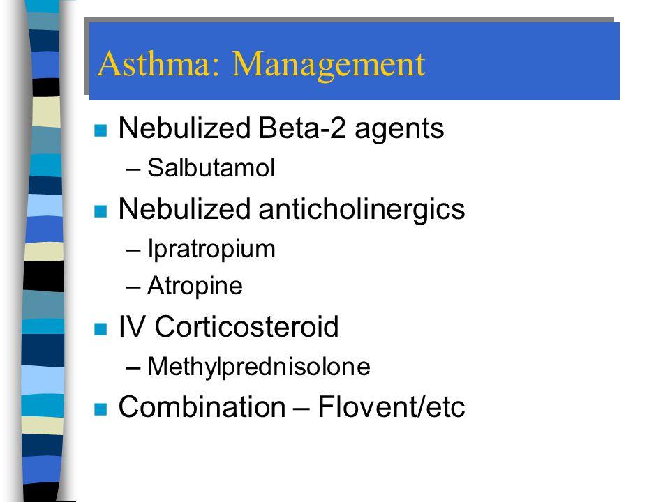 Asthma: Management Nebulized Beta-2 agents Nebulized anticholinergics