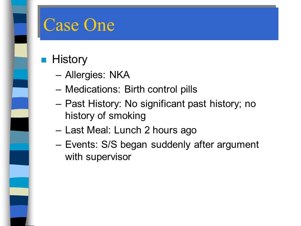 Case One History Allergies: NKA Medications: Birth control pills
