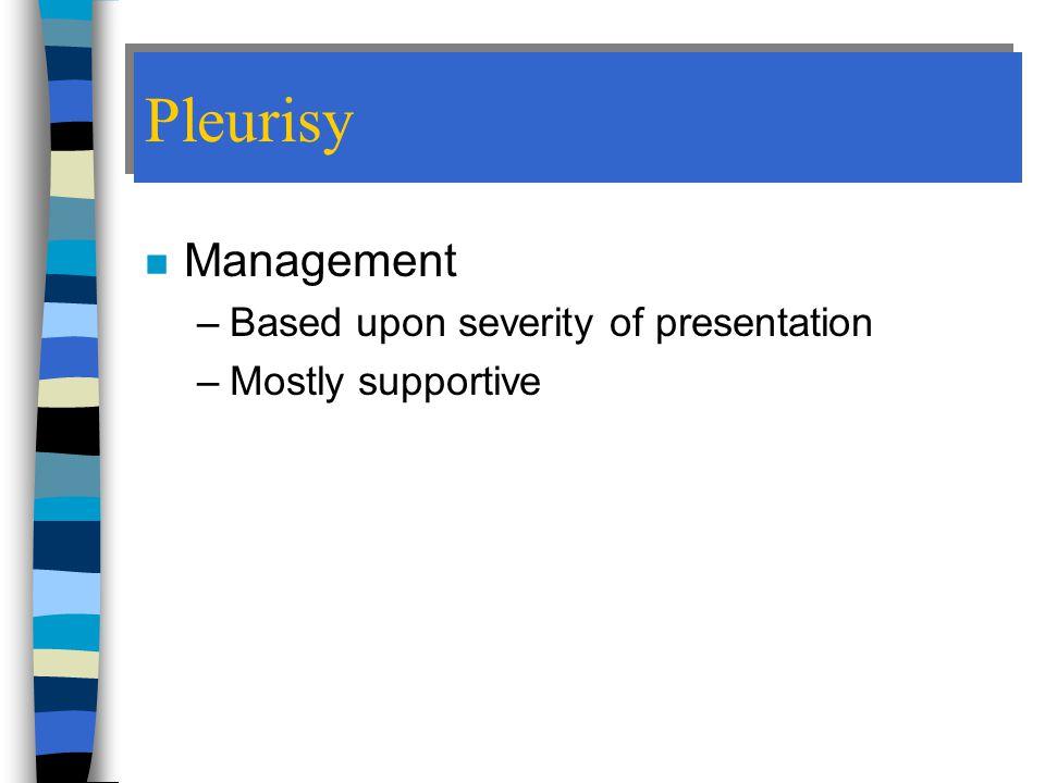 Pleurisy Management Based upon severity of presentation