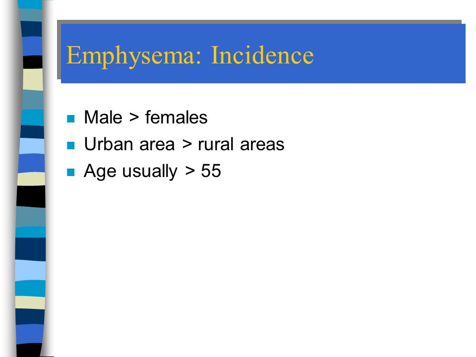 Emphysema: Incidence Male > females Urban area > rural areas