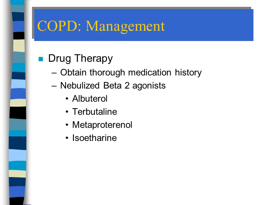 COPD: Management Drug Therapy Obtain thorough medication history