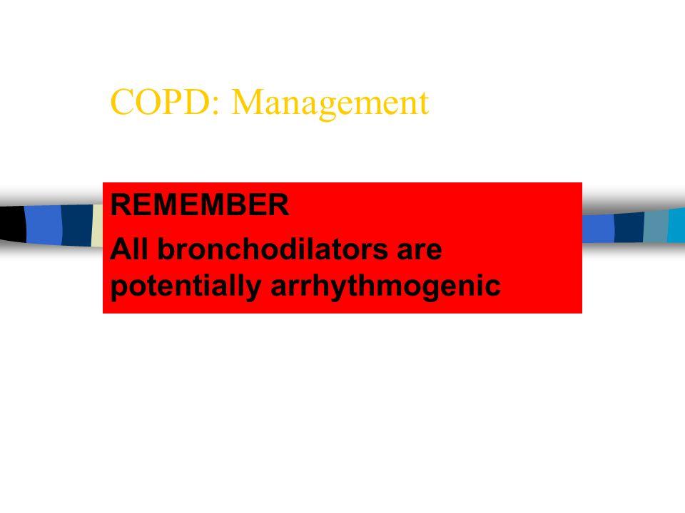 REMEMBER All bronchodilators are potentially arrhythmogenic