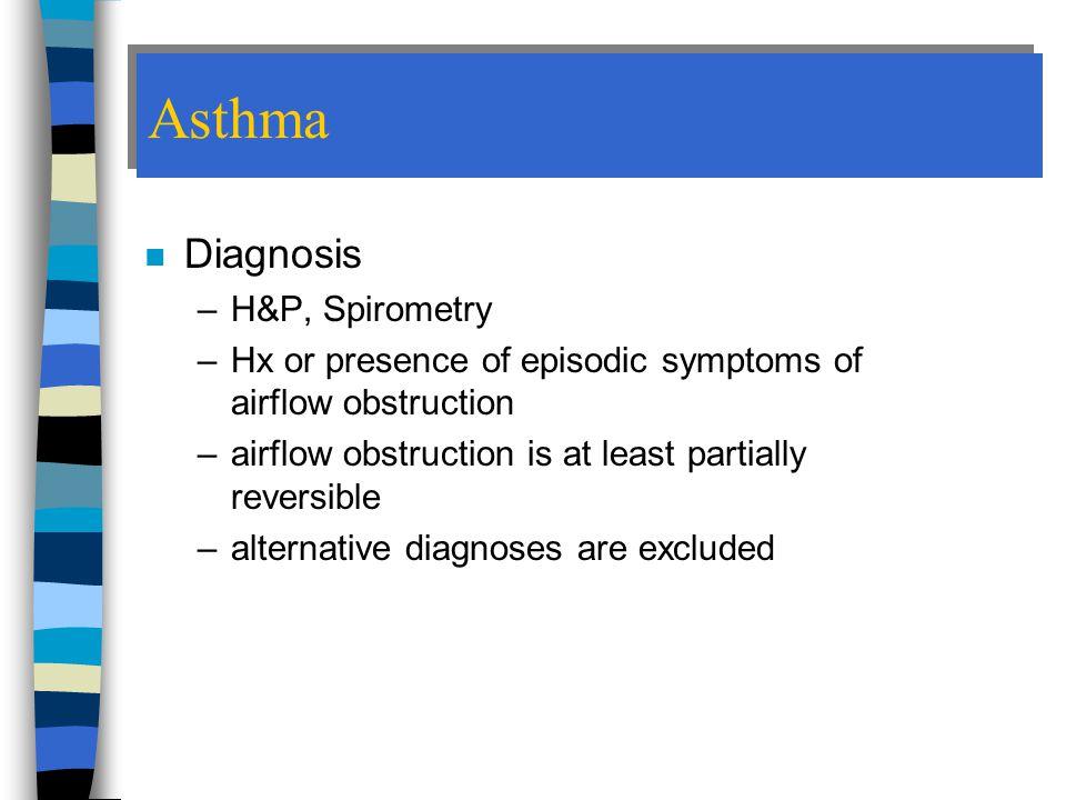 Asthma Diagnosis H&P, Spirometry