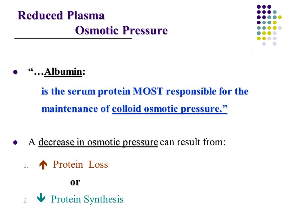 Reduced Plasma Osmotic Pressure