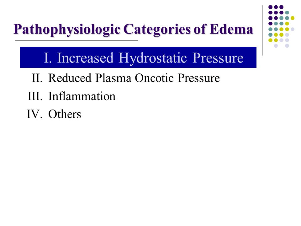 Pathophysiologic Categories of Edema