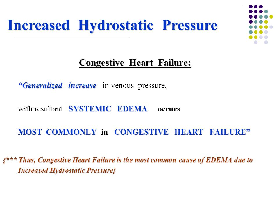 Increased Hydrostatic Pressure