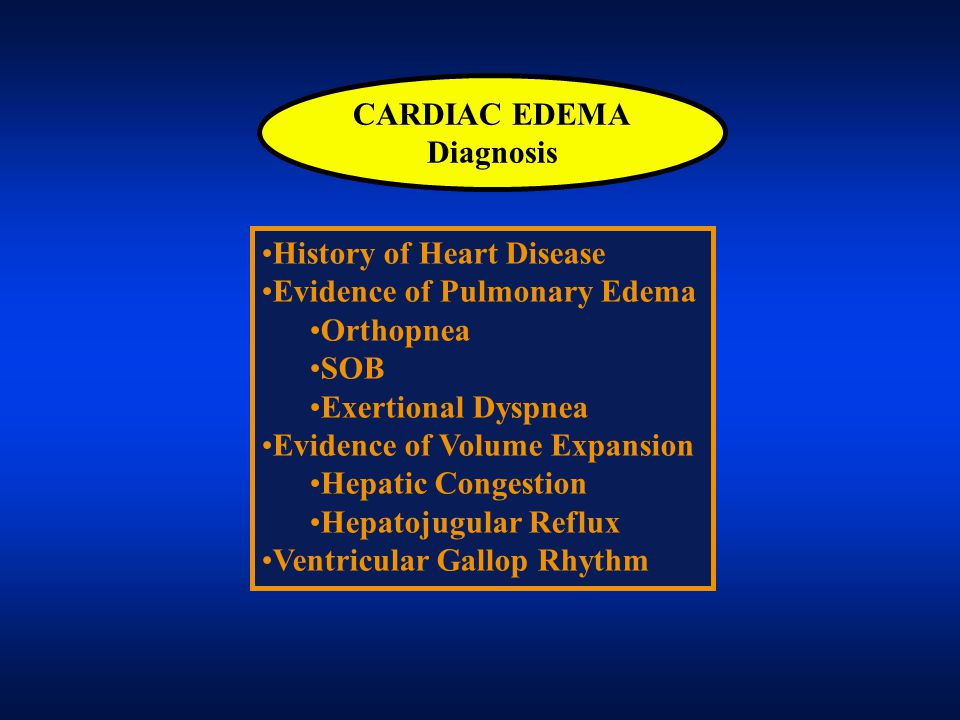 CARDIAC EDEMA Diagnosis. History of Heart Disease. Evidence of Pulmonary Edema. Orthopnea. SOB.