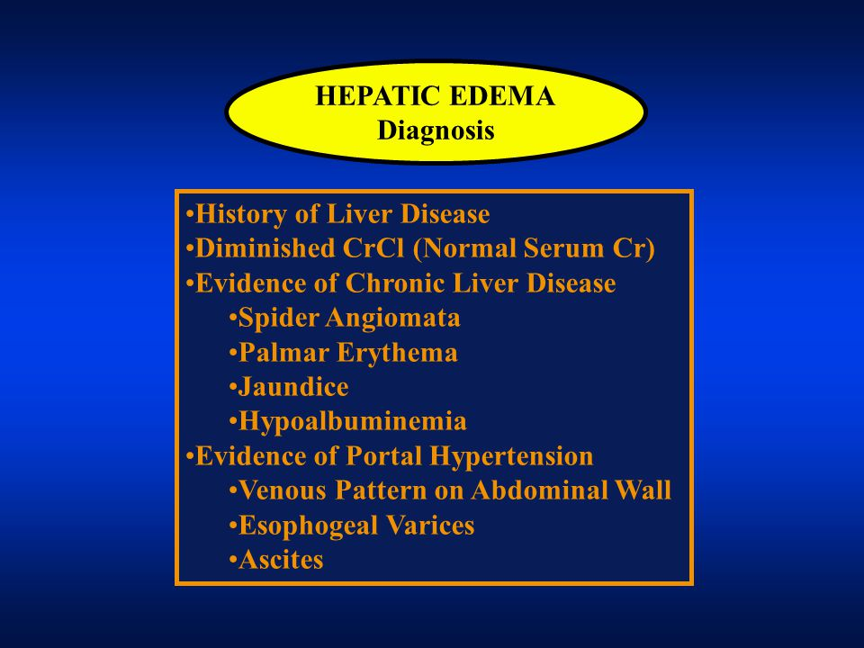 HEPATIC EDEMA Diagnosis. History of Liver Disease. Diminished CrCl (Normal Serum Cr) Evidence of Chronic Liver Disease.