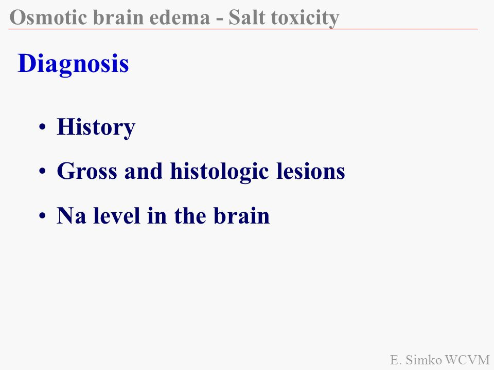 Diagnosis History Gross and histologic lesions Na level in the brain
