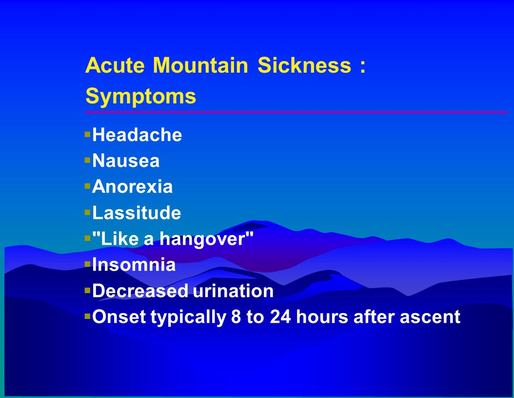 Acute Mountain Sickness : Symptoms