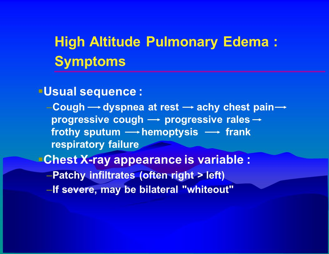 High Altitude Pulmonary Edema : Symptoms