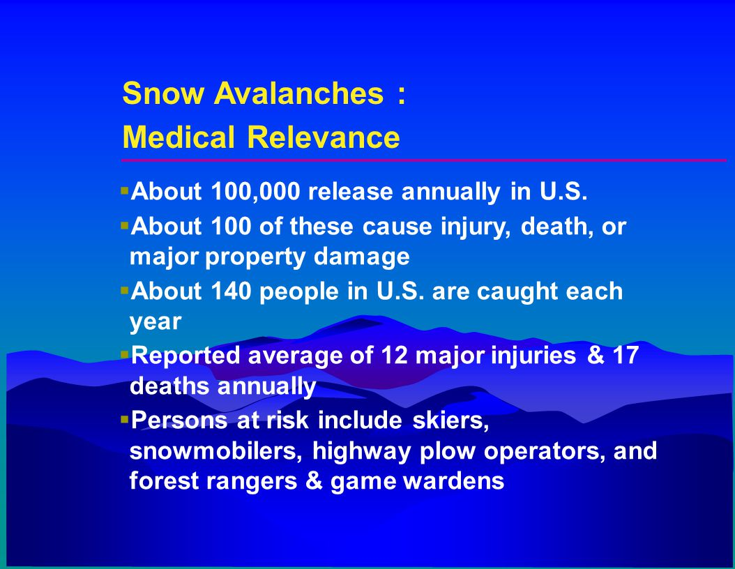 Snow Avalanches : Medical Relevance