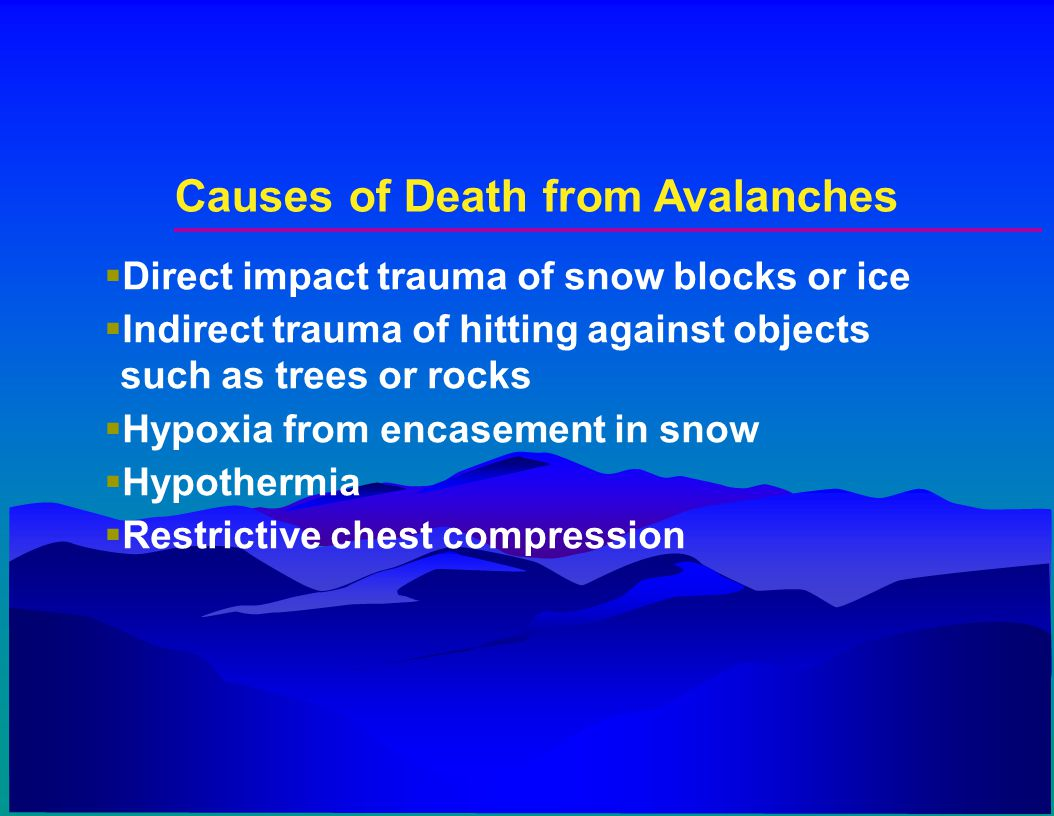 Causes of Death from Avalanches