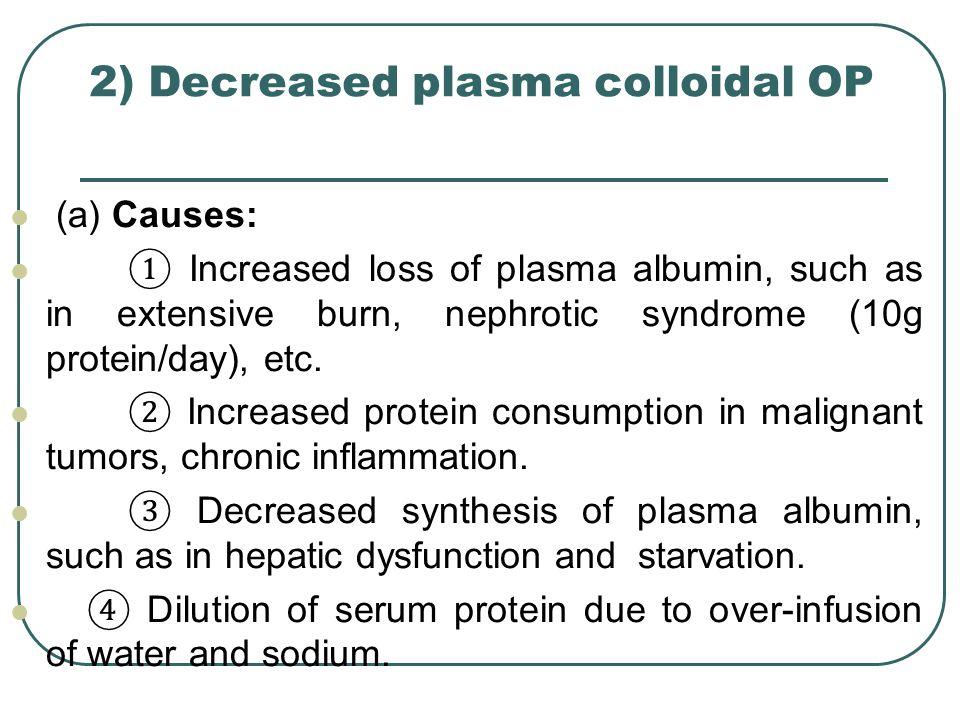 2) Decreased plasma colloidal OP