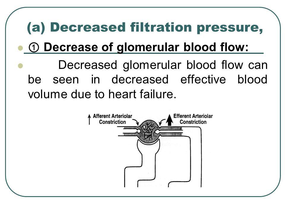 (a) Decreased filtration pressure,