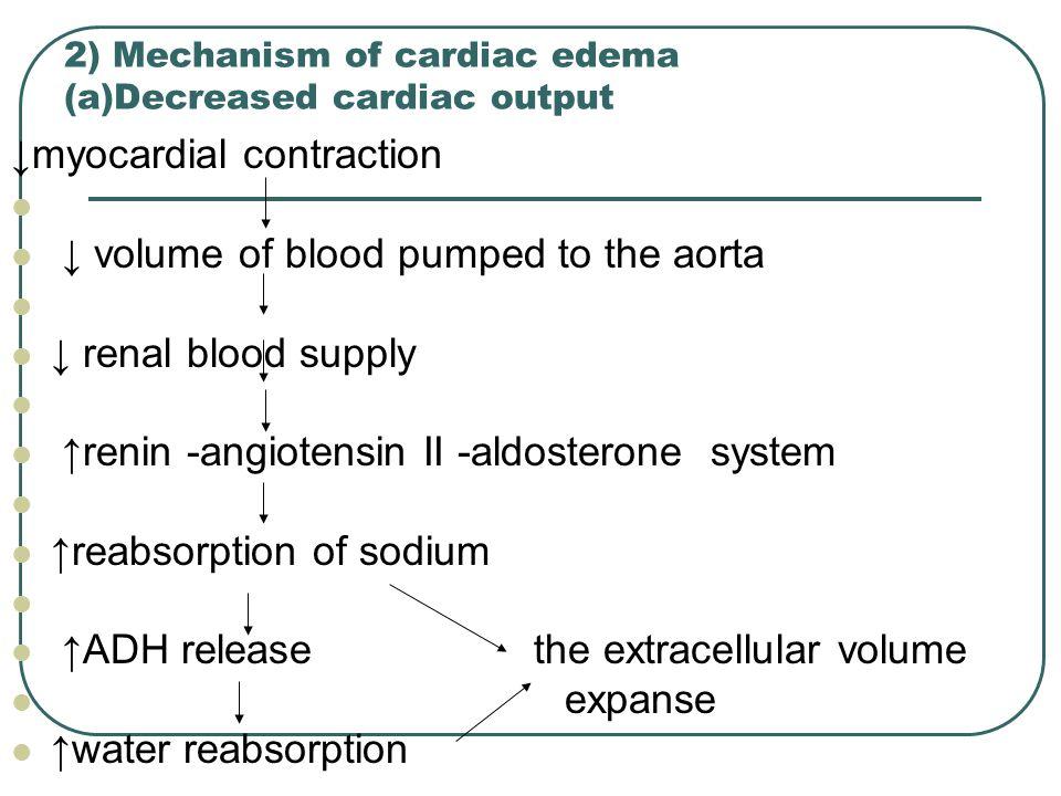 2) Mechanism of cardiac edema (a)Decreased cardiac output
