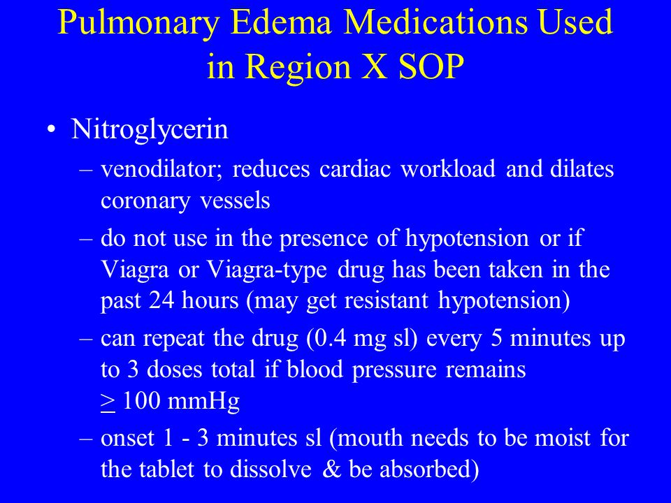 Pulmonary Edema Medications Used in Region X SOP