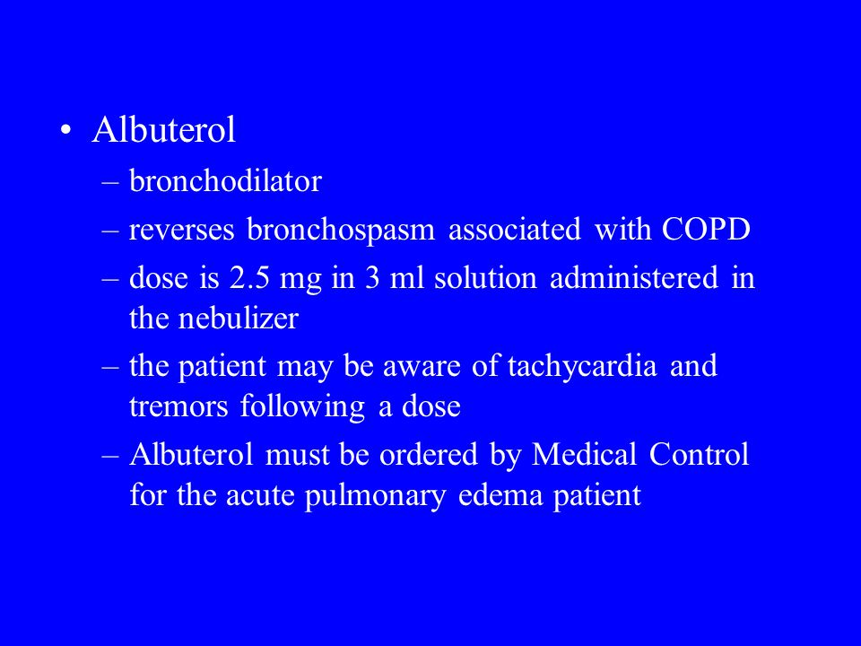 Albuterol bronchodilator reverses bronchospasm associated with COPD