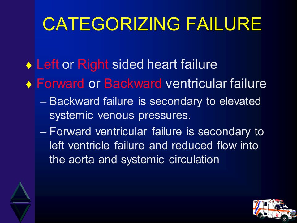 CATEGORIZING FAILURE Left or Right sided heart failure