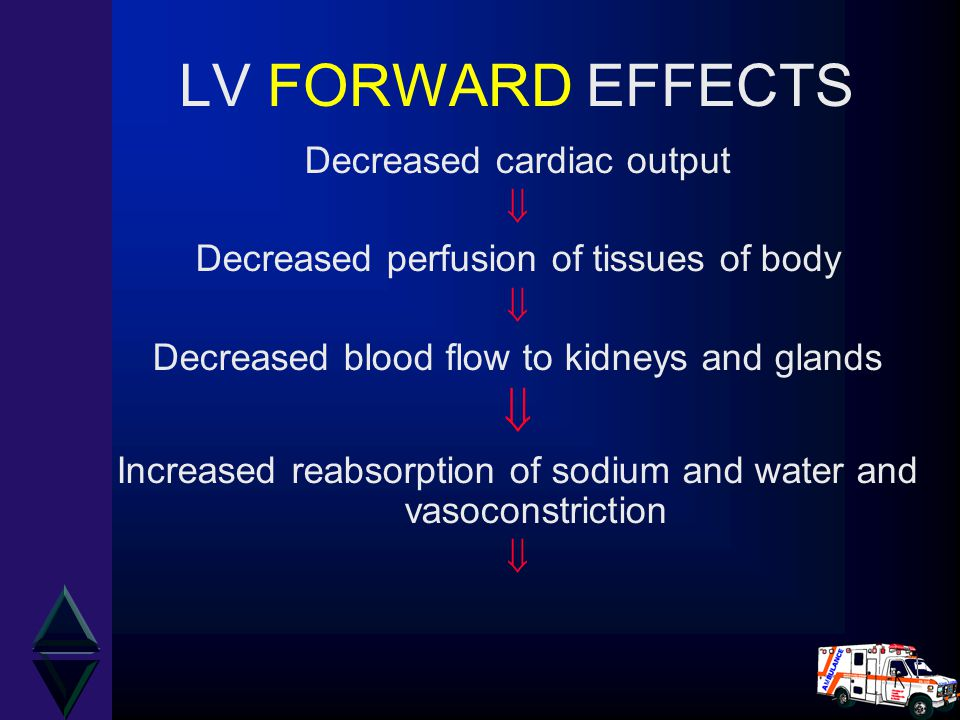 LV FORWARD EFFECTS Decreased cardiac output 