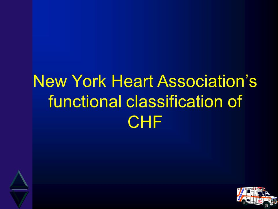 New York Heart Association's functional classification of CHF