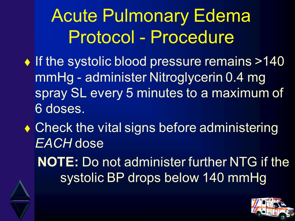 Acute Pulmonary Edema Protocol - Procedure