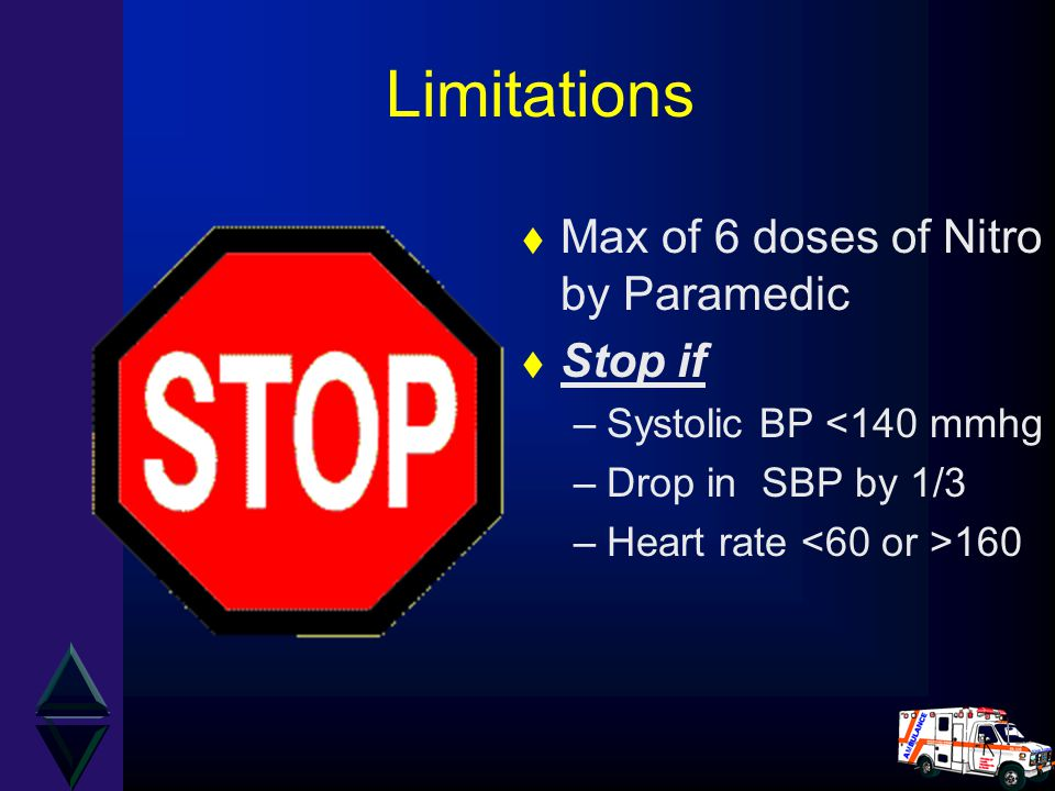 Limitations Max of 6 doses of Nitro by Paramedic Stop if