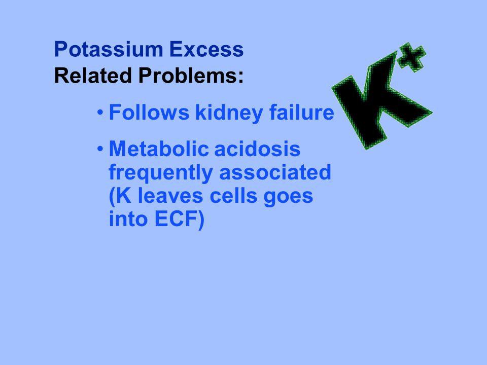 Potassium Excess Related Problems: Follows kidney failure.