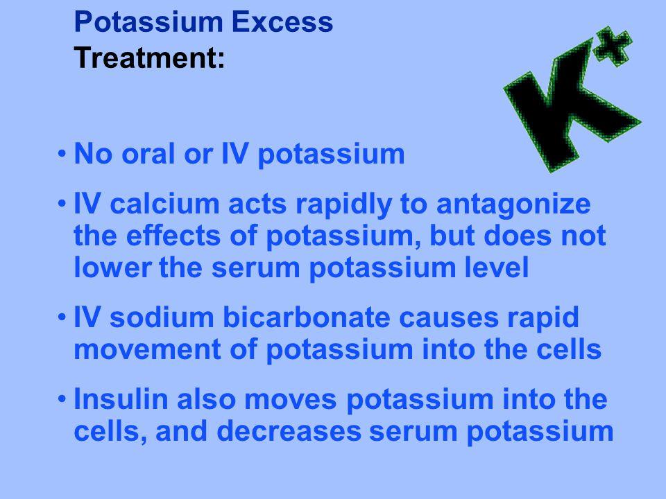 Potassium Excess Treatment: No oral or IV potassium.