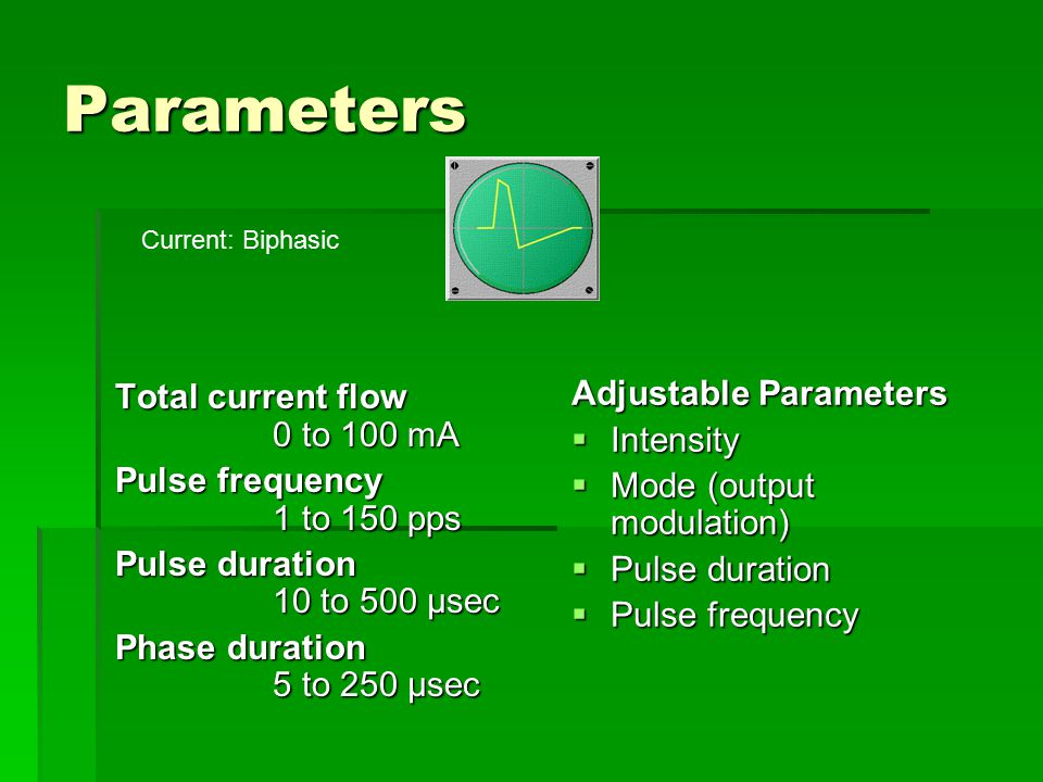 Parameters Adjustable Parameters Total current flow 0 to 100 mA