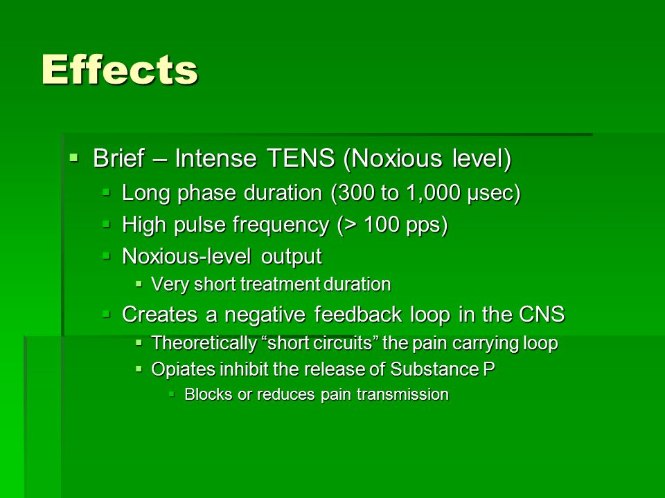 Effects Brief – Intense TENS (Noxious level)