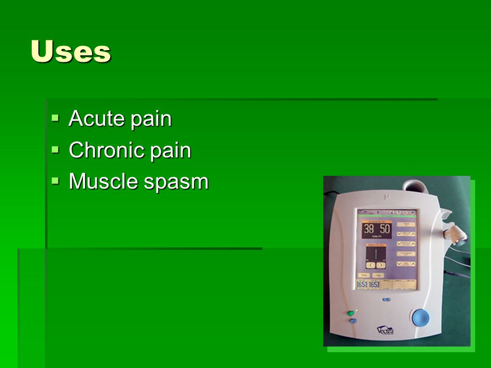 Uses Acute pain Chronic pain Muscle spasm