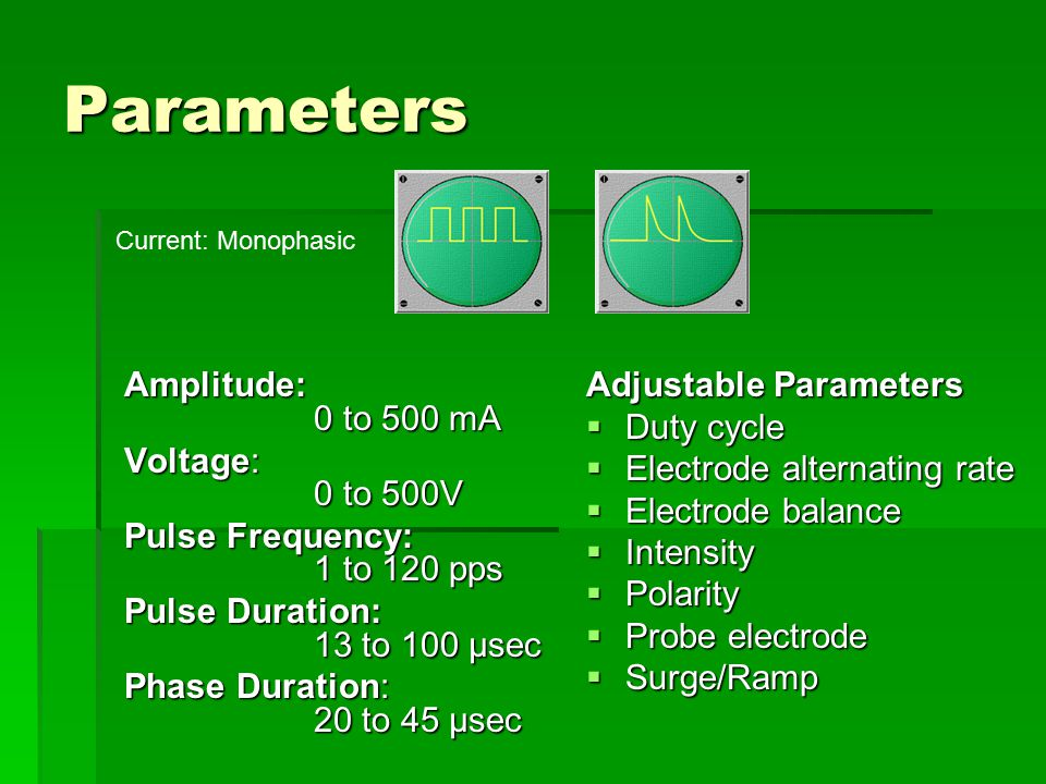 Parameters Amplitude: 0 to 500 mA Voltage: 0 to 500V