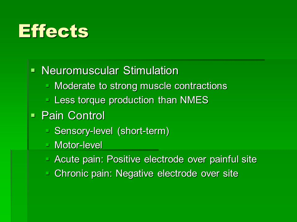 Effects Neuromuscular Stimulation Pain Control