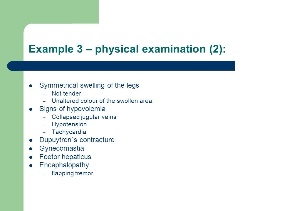 Example 3 – physical examination (2):