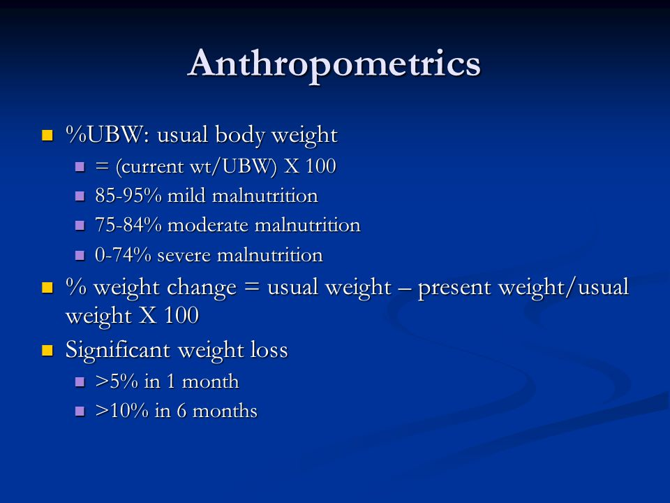 Anthropometrics %UBW: usual body weight