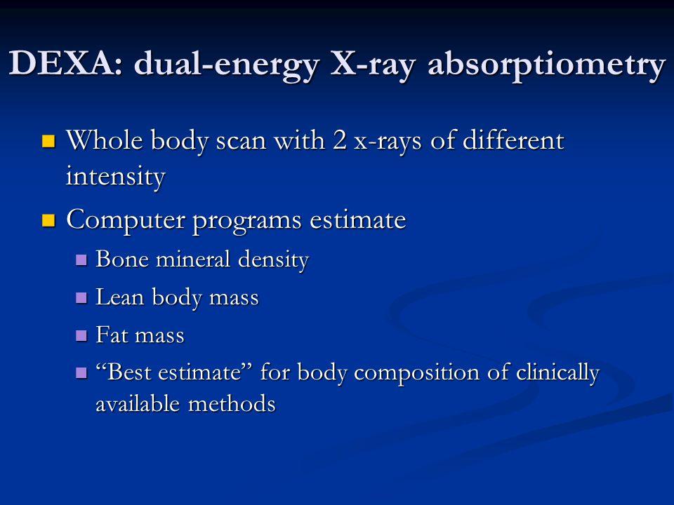 DEXA: dual-energy X-ray absorptiometry