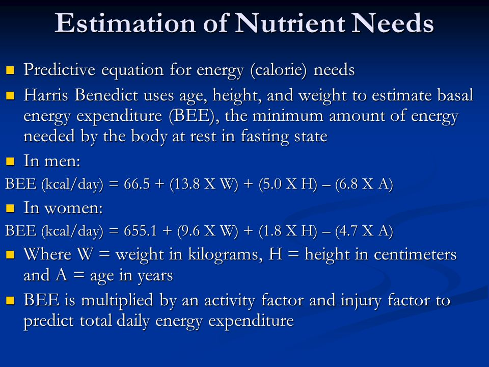 Estimation of Nutrient Needs