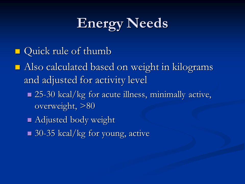 Energy Needs Quick rule of thumb