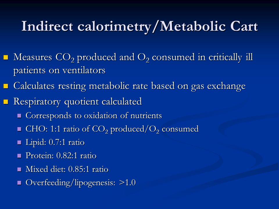 Indirect calorimetry/Metabolic Cart