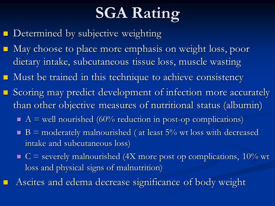 SGA Rating Determined by subjective weighting