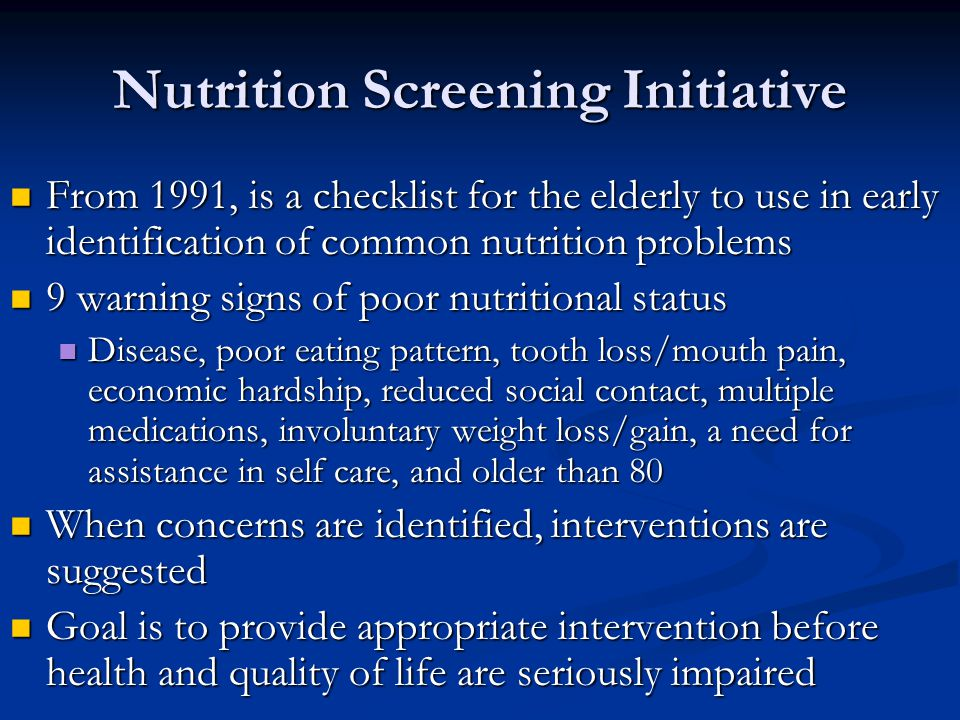 Nutrition Screening Initiative