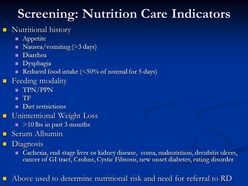 Screening: Nutrition Care Indicators