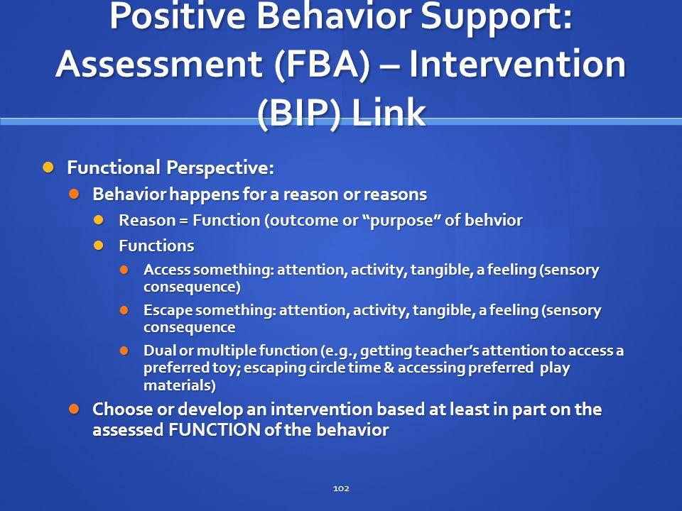 Positive Behavior Support: Assessment (FBA) – Intervention (BIP) Link