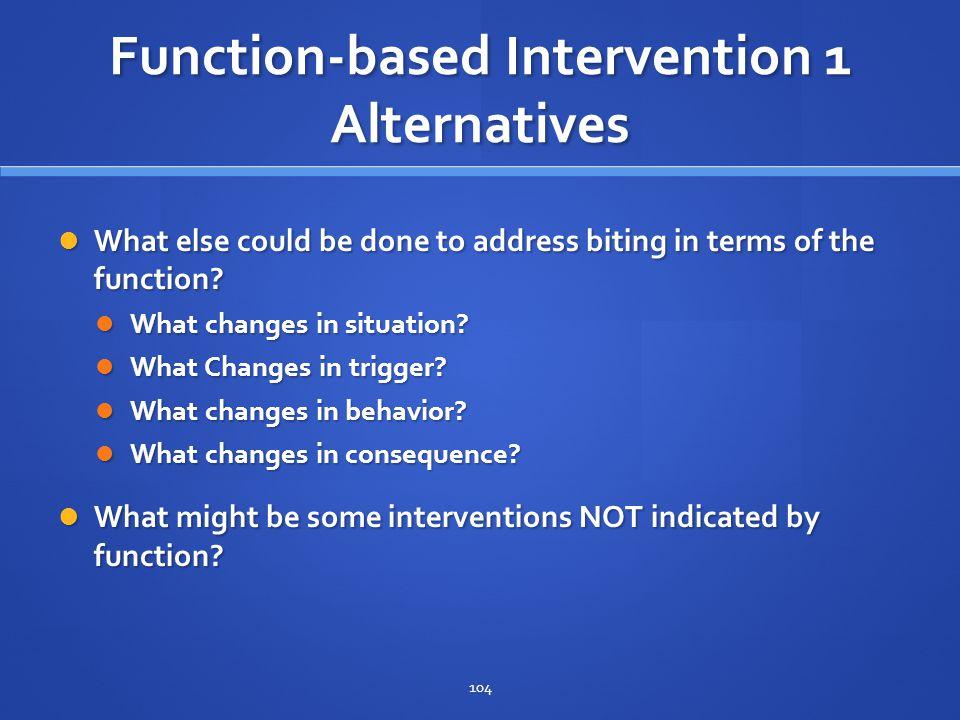 Function-based Intervention 1 Alternatives